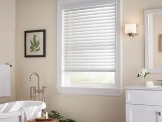 White Cordless 2 in  Faux Wood Blind   23 in  W x 72 in  l  Actual Size 22 5 in  W x 72 in  l