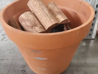 large Clay pot with Wooden Outdoor Decor