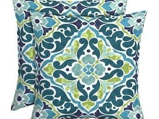 Style Selections 2 Pack Geometric Cream  Ground  Teal  Green  Navy Square Throw Pillow