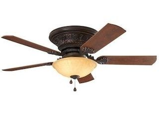 Harbor Breeze lynstead 52 in Specialty bronze lED Indoor Flush Mount Ceiling Fan  5 Blade