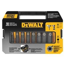 DEWAlT 10 Piece 3 8 in Drive Standard Deep 6 Point Impact Socket Set with Case