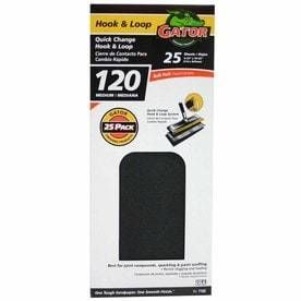 Gator 25 Pack 120 Grit 4 5 in W x 10 5 in l Drywall Hook and loop Sanding Sheets Sandpaper