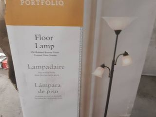 Portfolio Floor lamp Oil Rubbed Bronze Finish Frosted Glass Shades 3 lights