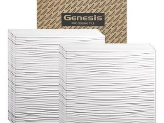 Genesis 2ft x 2ft White Drifts Ceiling Tiles   Easy Drop in Installation   Waterproof  Washable and Fire Rated   High Grade PVC to Prevent Breakage   Package of 9 Tiles