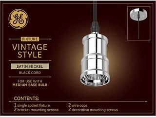 GE Satin Nickel Finish light Bulb Pendant