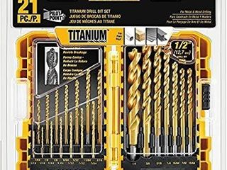 DEWAlT Titanium Drill Bit Set  Pilot Point  21 Piece  DW1361