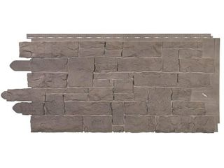 Novik Stacked Stone 45 in  x 20 1 4 in  Polymer Smoke Gray Vinyl Siding  10 Pack