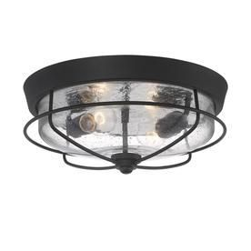 Portfolio 14 75 in W Matte Black Outdoor Flush Mount light