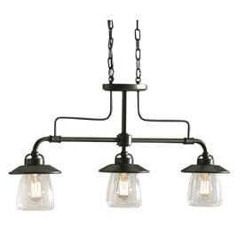 allen   roth Bristow 36 in W 3 light Mission Bronze Kitchen Island light with Clear Shade