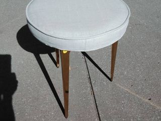White canvas cushion stool with gold feet