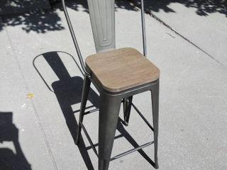 Grey Metal high back bar stool with tan wooden seat