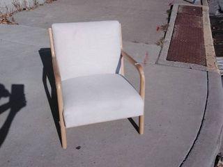 Beige and oak wood cushion chair