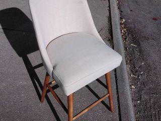 beige canvas Barstool light brown feet