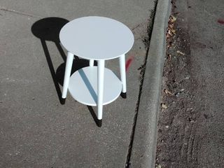 Round White Wooden End Table with gold feet