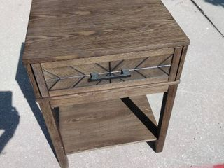 Night Stand with metal handled drawer Brown