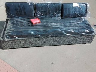 Patio lounger Couch grey base black cushions