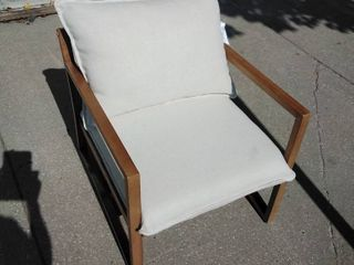 linen lounge Chair with light stain wooden frame