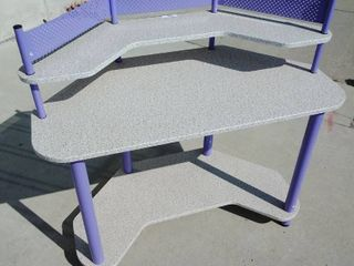 3 Tier Desk with Purple Accents and Faux Marble Top