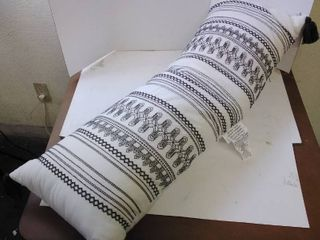 Embroidered Decorative Pillow Black  amp  Tan