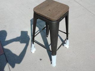 Wooden Barstool with Gun Metal legs