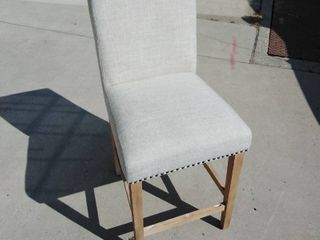 linen Counter Chair with Wooden frame and Nail Head Accents