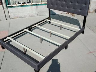 Gray Canvas Headboard   Footboard full size bed frame