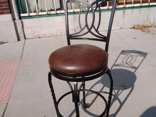 Faux leather Counter Chair  Brown  with Black legs