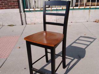 Black Barstool w Wooden Seat 17w x 18l x 41H