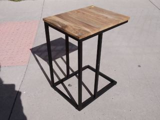 Wooden Top End Table with Black Iron bottom 14 5w x 18 5l x 24H