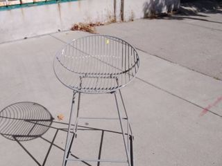 Contemporary Wired Bar Stool Silver 18w x 18l x 31H