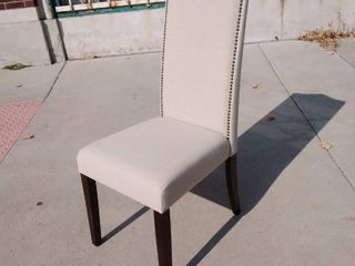 Tan Dinning Chair w Jeweled Nail head Highback 17w x 20l x 41H17w x 20l x 41H