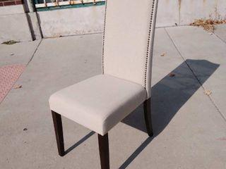 Tan Dinning Chair w Jeweled Nail head Highback 17w x 20l x 41H