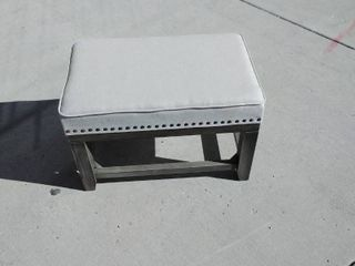 Beige Canvas Nail head Foot Stool with Gray legs