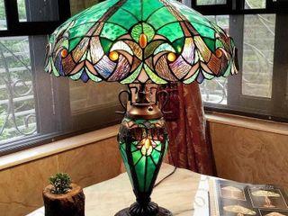 TIFFANY STYLE LAMP, DISH SETS, COMFORTERS