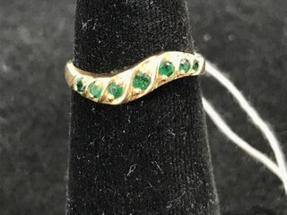 14 K Yellow Gold Ring With 7 Emerald Stones