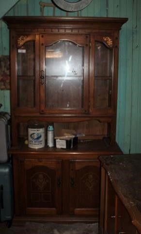 Two-Piece Glass Door Kitchen Cabinet