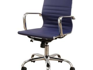 Samuel Silver Finish Adjustable leather Office Chair by Abbyson  Retail 161 99