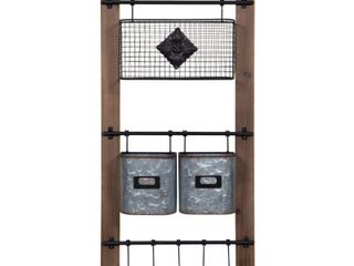 Gallery Solutions Metal Wood Basket and Hook Wall Organizer  Retail 89 99