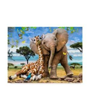Howard Robinson  Elephants and Giraffes  Canvas Art