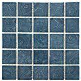 SomerTile 12x12 inch Paradise Beach Blue Porcelain Mosaic Floor and Wall Tile  10 tiles 10 21 sqft  Retail 79 98