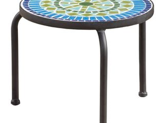 Iris Outdoor Round Tile Side Table  Planter by Christopher Knight Home