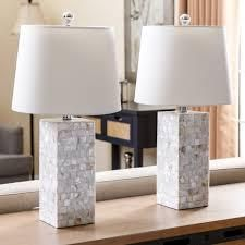 Mother of Pearl Square 26 inch Table lamp  Set of 2  By Abbyson  Retail 133 49 ivory