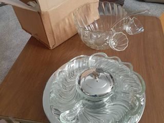 Punchbowl with approximately 14 cups and relish tray