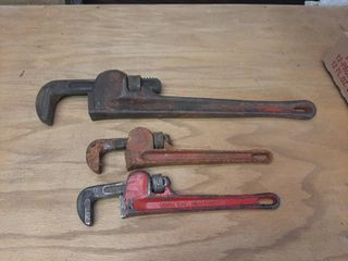 18  Ridgid Pipe Wrench and  2  10  Pipe Wrenches