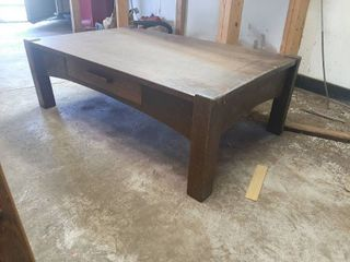 Oak Coffee Table   Cut down from library Table   One leg Needs Repaired