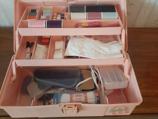 Sewing Items in Pink Plano Box