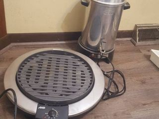 Electric grill and 30 cup percolator