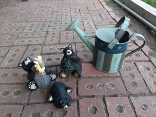 Metal Water Can and 3 Bear Decor