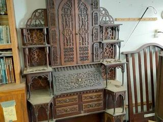 Ornate Secretary   Needs Some Trim Pieces Repaired   In Back Garage  Bring Help to load and All Packing Materials Needed