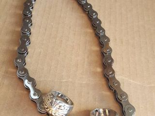 roller chain choker necklace and two rings